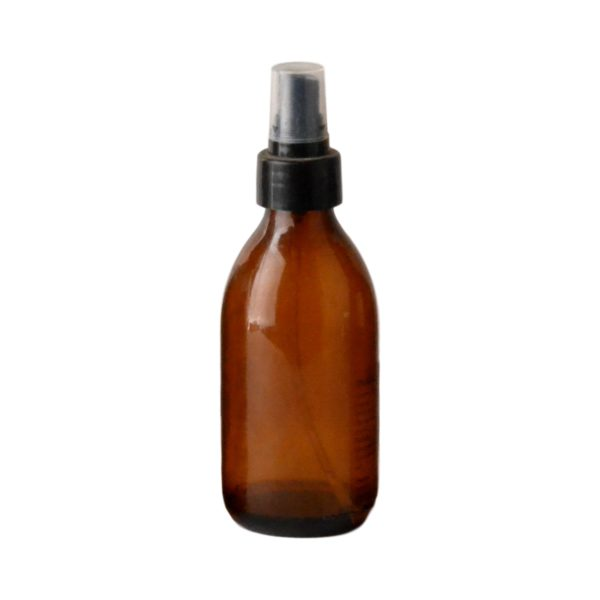 Amber Glass Bottle 200Ml With Atomiser Spray - Black (28/410)
