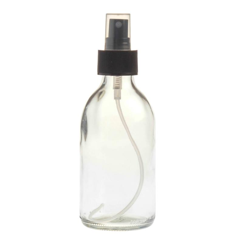 Clear Glass Bottle 200Ml With Atomiser Spray - Black (28/410)